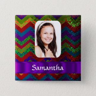 Hippy chevron personalized photo template 15 cm square badge
