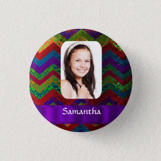 Hippy chevron personalized photo template 3 cm round badge