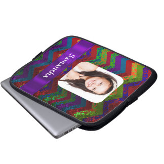 Hippy chevron personalized photo template laptop sleeve