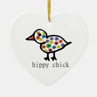Hippy Chick Ceramic Heart Decoration