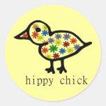 Hippy Chick Round Sticker