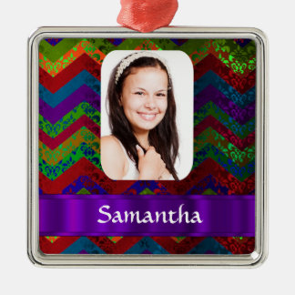 Hippy color chevron personalized photo template christmas ornament