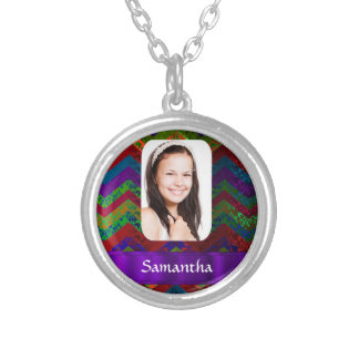Hippy color chevron personalized photo template silver plated necklace