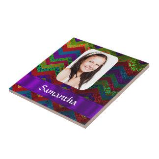 Hippy color chevron personalized photo template tile