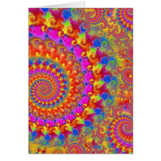 Hippy Fractal Pattern Pink Turquoise & Yellow Card