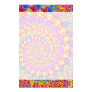 Hippy Fractal Pattern Pink Turquoise & Yellow Stationery