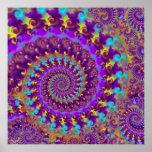 Hippy Fractal Pattern Purple Turquoise & Yellow