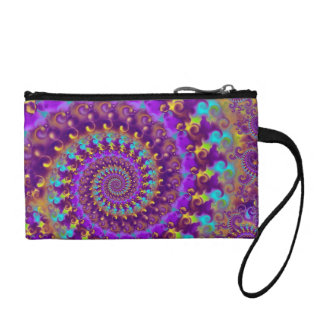 Hippy Fractal Pattern Purple Turquoise & Yellow Coin Wallet