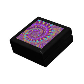 Hippy Fractal Pattern Purple Turquoise & Yellow Gift Box