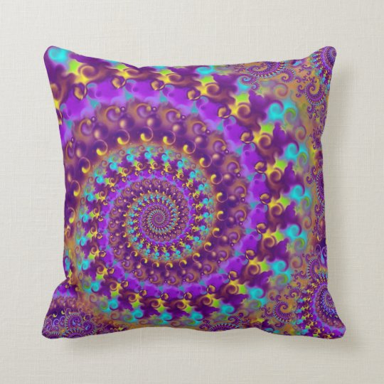 Hippy Fractal Pattern Purple Turquoise & Yellow Throw