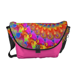 Hippy Fractal Pink Turquoise and Yellow Courier Bags