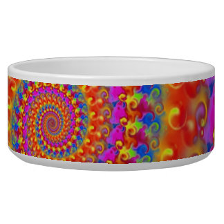 Hippy Fractal Pink Turquoise and Yellow Pet Food Bowl