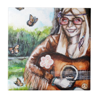 Hippy Girl Small Square Tile