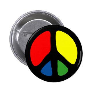 Hippy Groovy Peace Symbol 6 Cm Round Badge