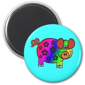 Hippy Hog 6 Cm Round Magnet