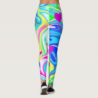Hippy Love Hearts Bubblegum Marble, Leggings