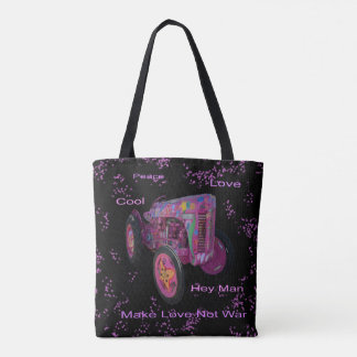 Hippy Love Tractor, Full Print Tote Shopping Bag.