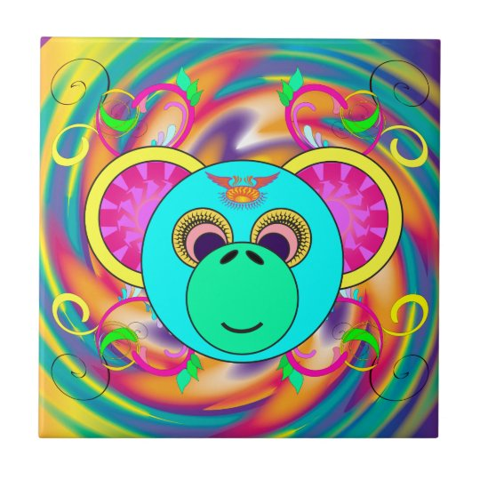 Hippy Monkey Colourful Psychedelic Rainbow Animal Small Square Tile