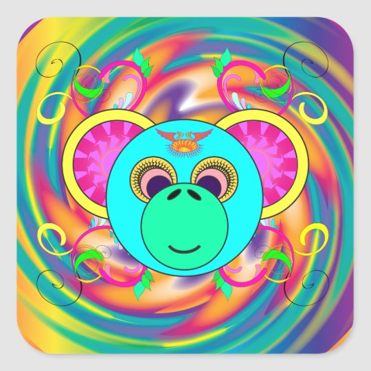Hippy Monkey Colourful Psychedelic Rainbow Animal Square Sticker