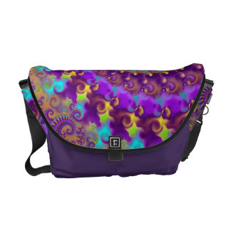 Hippy Pattern Purple Turquoise and Yellow Messenger Bag
