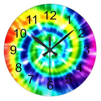 Hippy Peace Retro Tie Dye Colorful Boho Large Clock