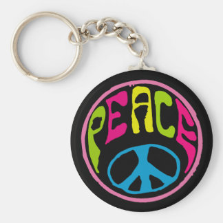 Hippy Peace Sign Basic Round Button Key Ring
