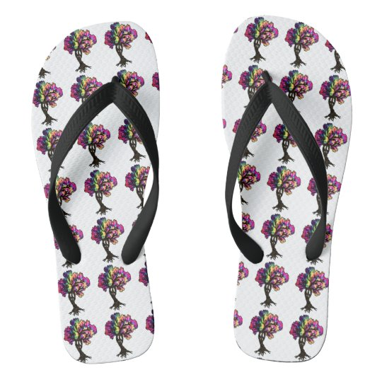 Hippy peace tree flip flops