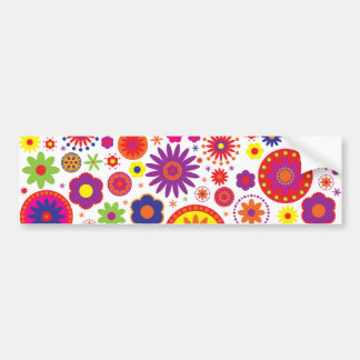 Hippy Rainbow Flowers Bumper Sticker