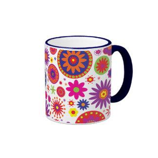 Hippy Rainbow Flowers Coffee Mug