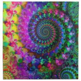 Hippy Rainbow Fractal Art Pattern Napkins