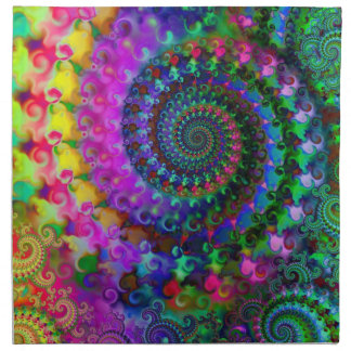 Hippy Rainbow Fractal Art Pattern Napkin