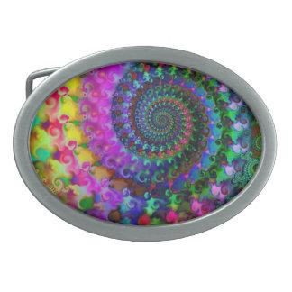 Hippy Rainbow Fractal Art Pattern Oval Belt Buckles