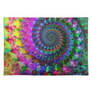 Hippy Rainbow Fractal Art Pattern Placemat