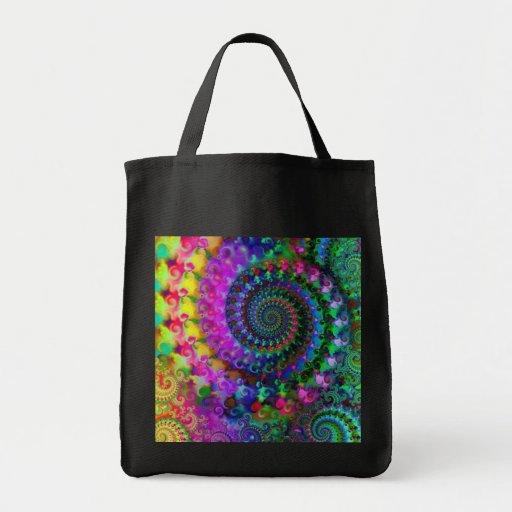 Hippy Rainbow Fractal Pattern Tote Bag