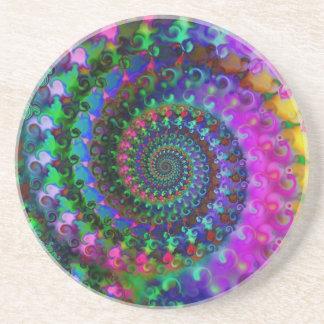 Hippy Rainbow Fractal Pattern Beverage Coaster