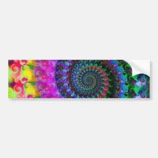 Hippy Rainbow Fractal Pattern Bumper Sticker