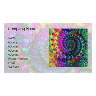 Hippy Rainbow Fractal Pattern Business Card Template