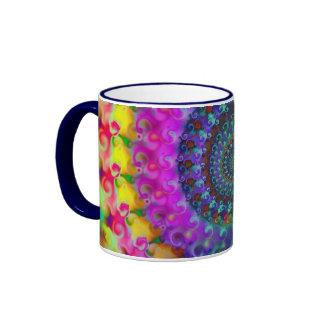 Hippy Rainbow Fractal Pattern Mugs