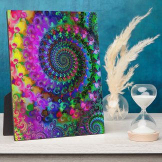 Hippy Rainbow Fractal Pattern Plaque