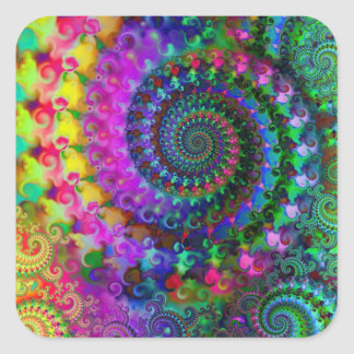 Hippy Rainbow Fractal Pattern Square Sticker