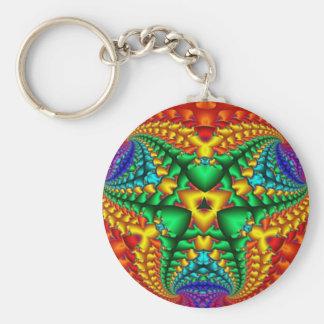 Hippy Rainbow Psychedelic Fractal Key Ring
