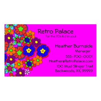 Hippy Retro Flowers Business Card Template
