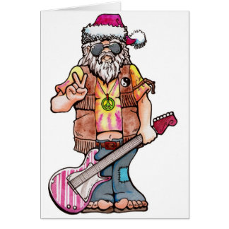 "Hippy Santa says ""Cool Yule"" Card"