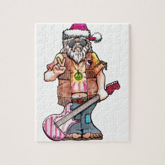 "Hippy Santa says ""Cool Yule"" Jigsaw Puzzle"
