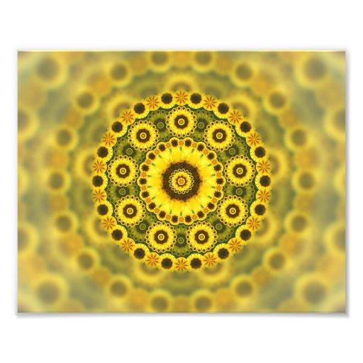 Hippy Sunflower Fractal Mandala Pattern