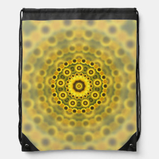 Hippy Sunflower Fractal Mandala Pattern Drawstring Bag