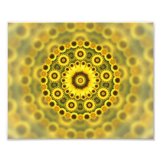 Hippy Sunflower Fractal Mandala Pattern Photo Print