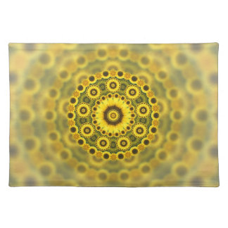 Hippy Sunflower Fractal Mandala Pattern Placemat