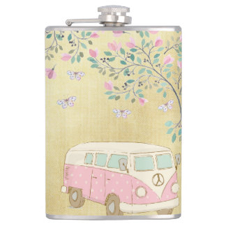 Hippy Van Butterflies and Blossom Gold Hip Flask