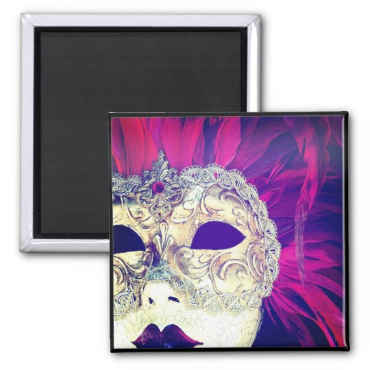 Hipstamatic Venetian Feathers Mask Lady Square Magnet